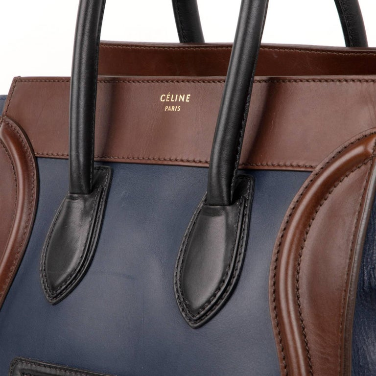 Celine Phantom Medium Tri Colour Navy Brown Black Luggage Tote Bag  For Sale 1