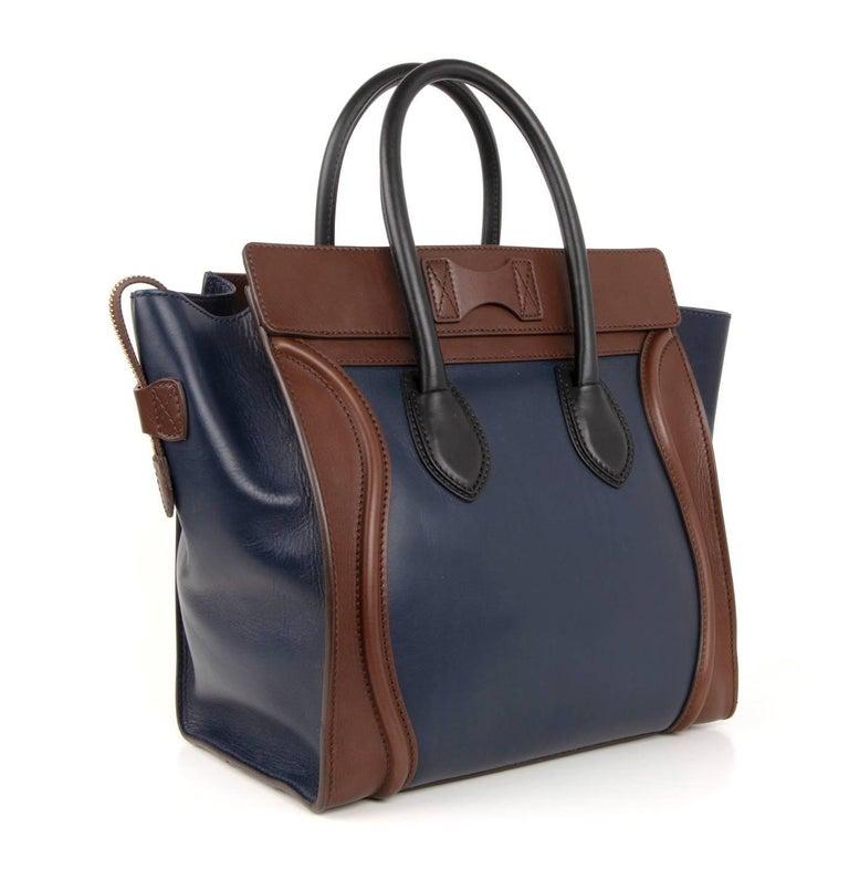 Celine Phantom Medium Tri Colour Navy Brown Black Luggage Tote Bag  For Sale 4