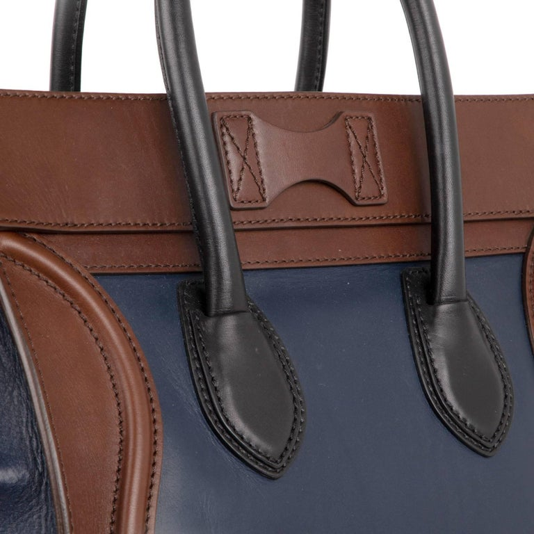 Celine Phantom Medium Tri Colour Navy Brown Black Luggage Tote Bag  For Sale 3