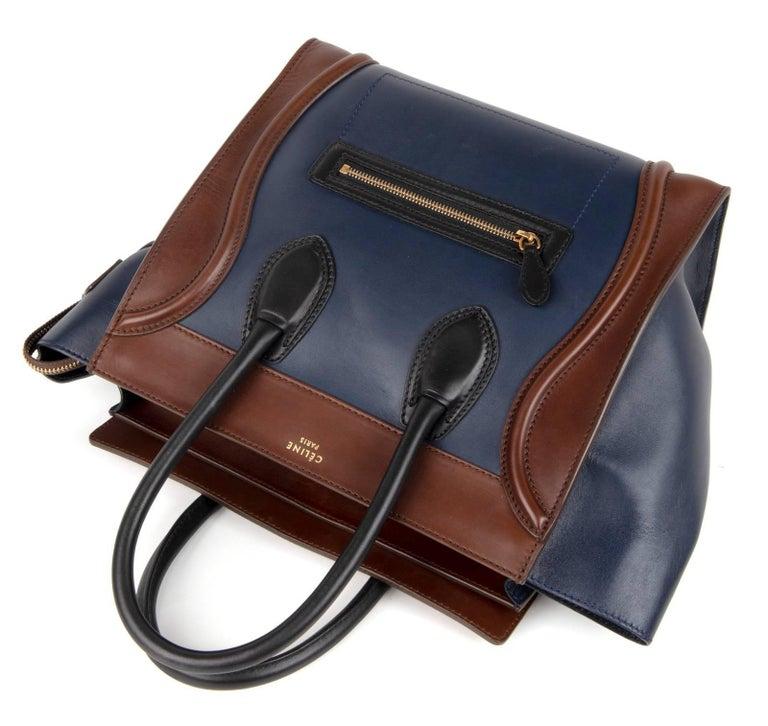 Women's or Men's Celine Phantom Medium Tri Colour Navy Brown Black Luggage Tote Bag  For Sale