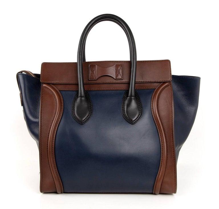 Celine Phantom Medium Tri Colour Navy Brown Black Luggage Tote Bag  For Sale 5