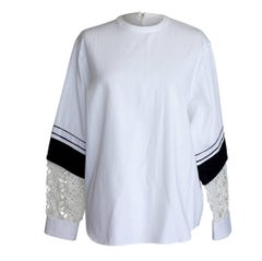 Chloe Top Tunic Black and White Unique Sleeve Flower Cutout 38 / 6