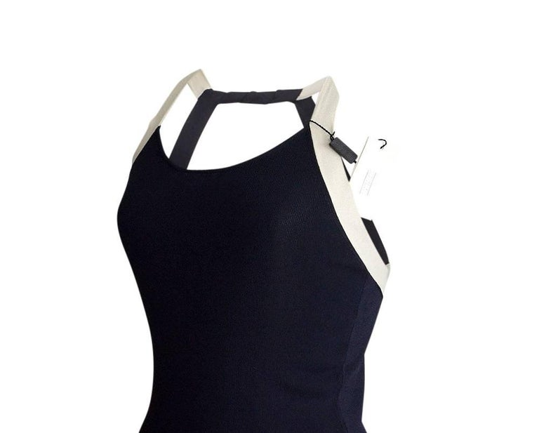 Black Giorgio Armani Top Deep Navy Open Rear Modified Halter NWT 42 / 6 For Sale