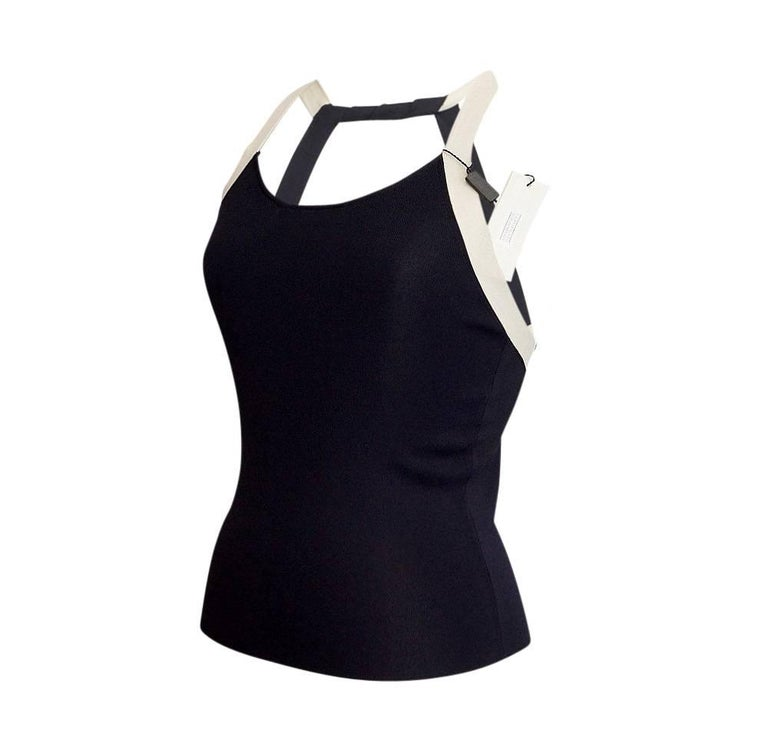 Giorgio Armani Top Deep Navy Open Rear Modified Halter NWT 42 / 6 In New Condition For Sale In Miami, FL
