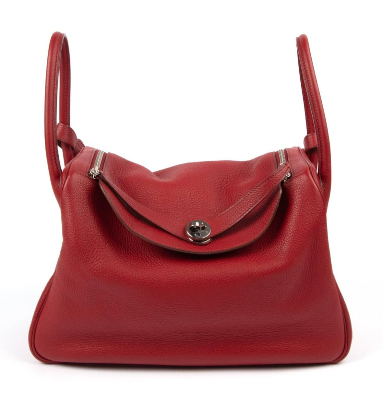 Beautiful Rich Rouge Hermes Lindy 34 Bag Carry By Hand Or Shoulder And