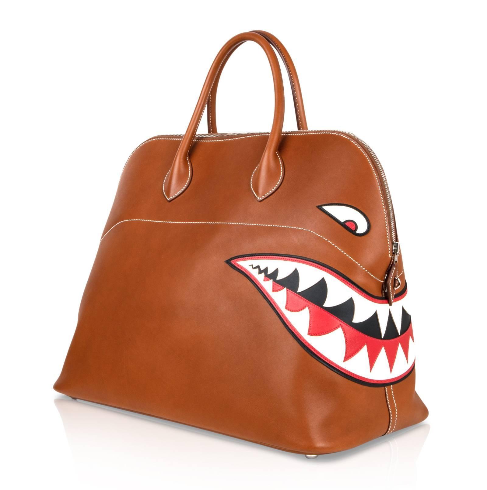 42aaa9cd3d11 ... coupon code for brown hermes barenia leather ltd ed runway shark bolide  monster bag for sale ...
