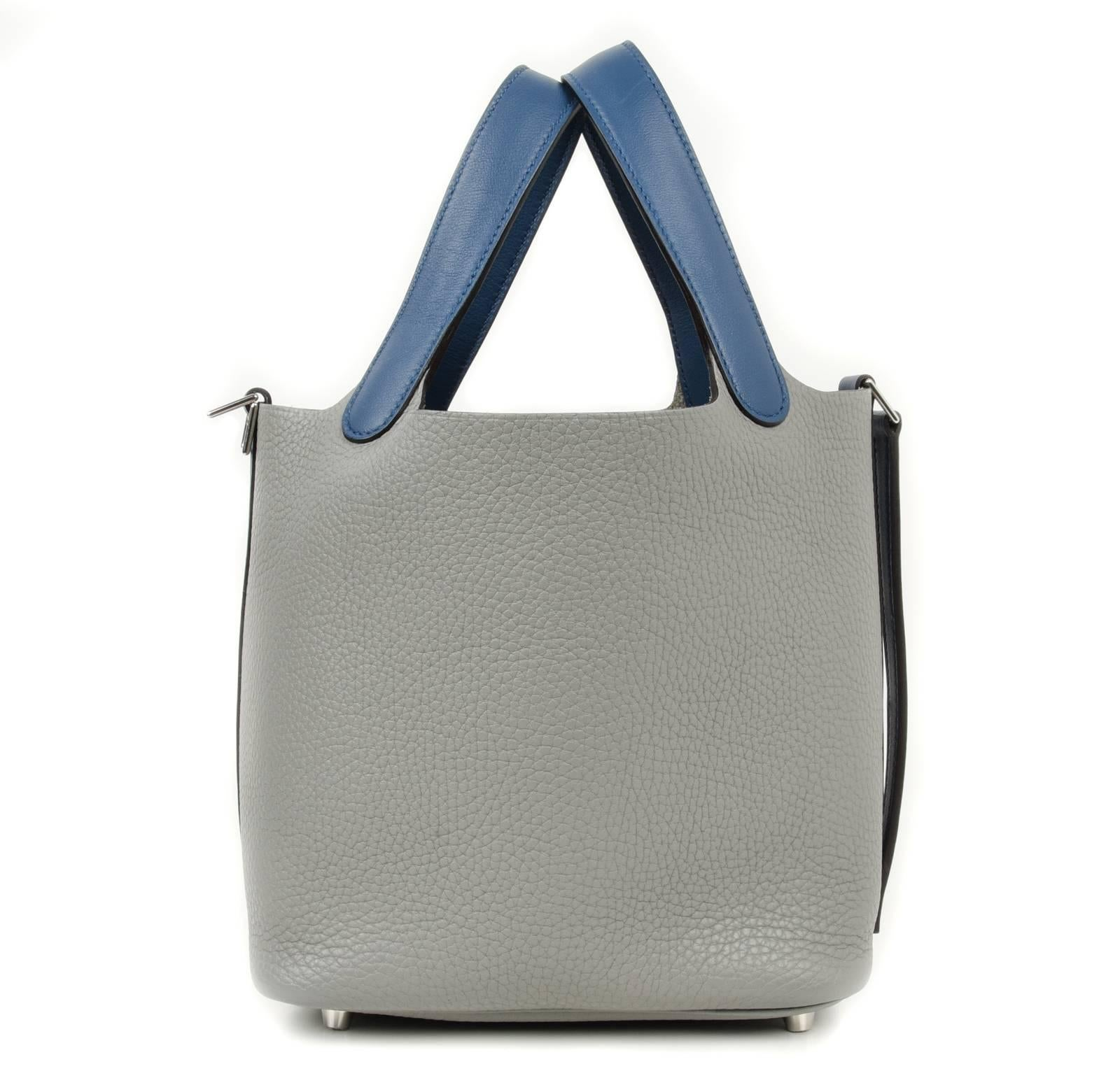 ... greece guaranteed authentic hermes picotin lock touch 18cm limited  edition bi color bag in gris mouette ... 7776adeedd