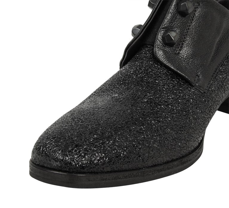 Black Henry Beguelin Shoe Loafer High Cut Textured Leather 39 / 9 New For Sale