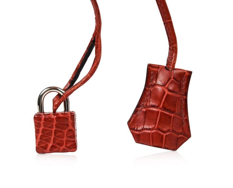 Hermes Birkin 40 Bag Rouge Red Matte Porosus Crocodile Palladium In Excellent Condition For Sale In Miami, FL