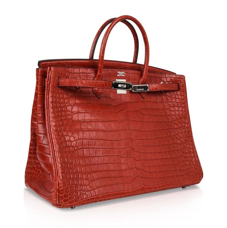 Hermes Birkin 40 Bag Rouge Red Matte Porosus Crocodile Palladium For Sale 3