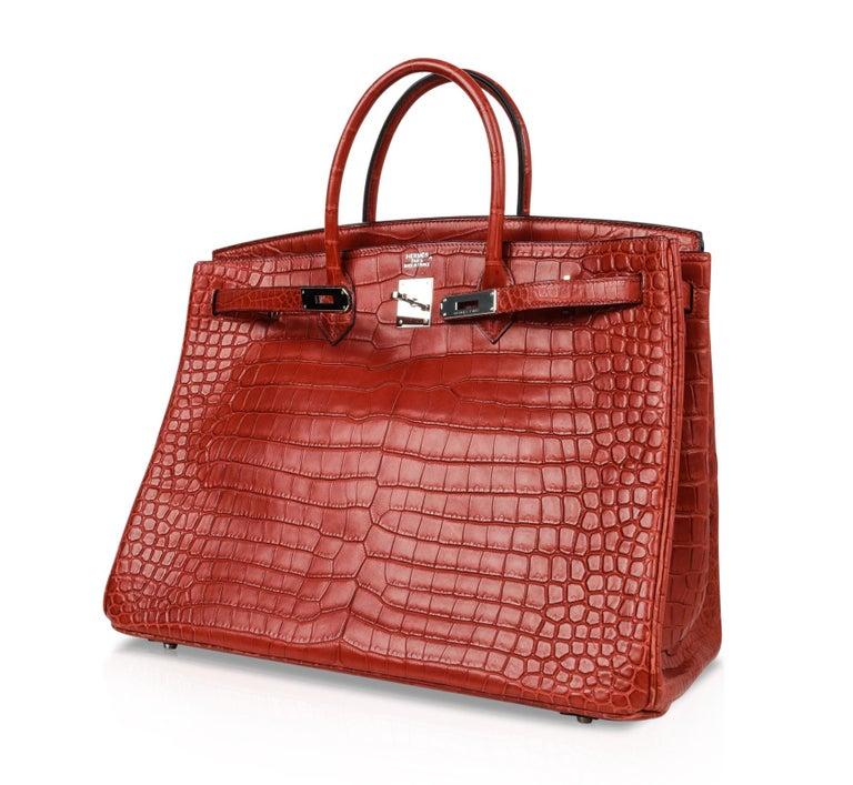 Hermes Birkin 40 Bag Rouge Red Matte Porosus Crocodile Palladium For Sale 5
