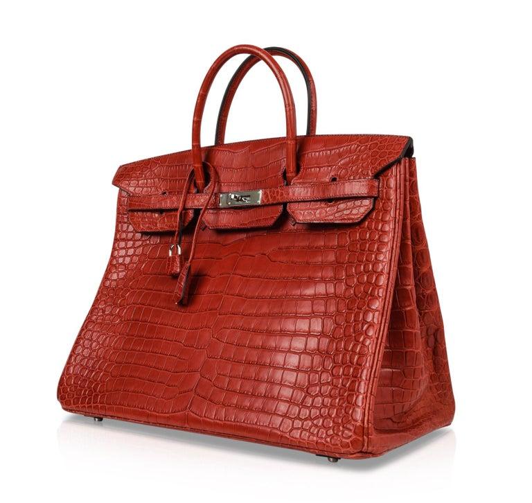 Hermes Birkin 40 Bag Rouge Red Matte Porosus Crocodile Palladium For Sale 1
