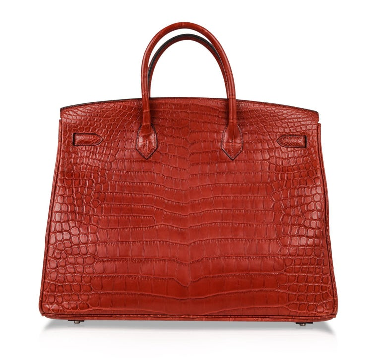 Hermes Birkin 40 Bag Rouge Red Matte Porosus Crocodile Palladium For Sale 6