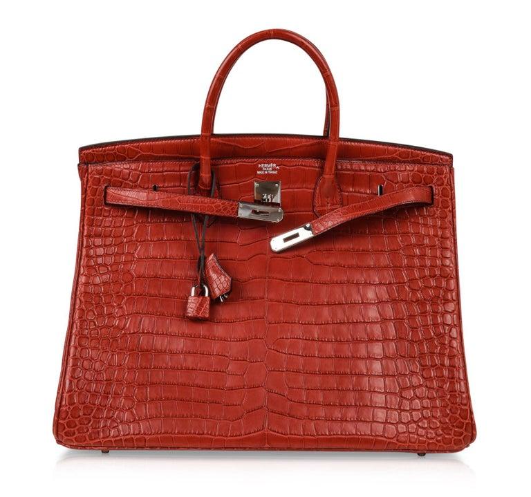 Hermes Birkin 40 Bag Rouge Red Matte Porosus Crocodile Palladium For Sale 4