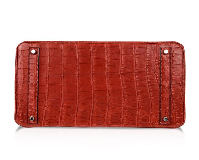 Hermes Birkin 40 Bag Rouge Red Matte Porosus Crocodile Palladium For Sale 7