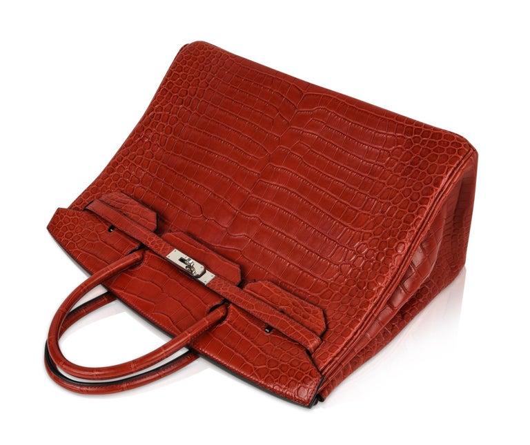 Hermes Birkin 40 Bag Rouge Red Matte Porosus Crocodile Palladium For Sale 2