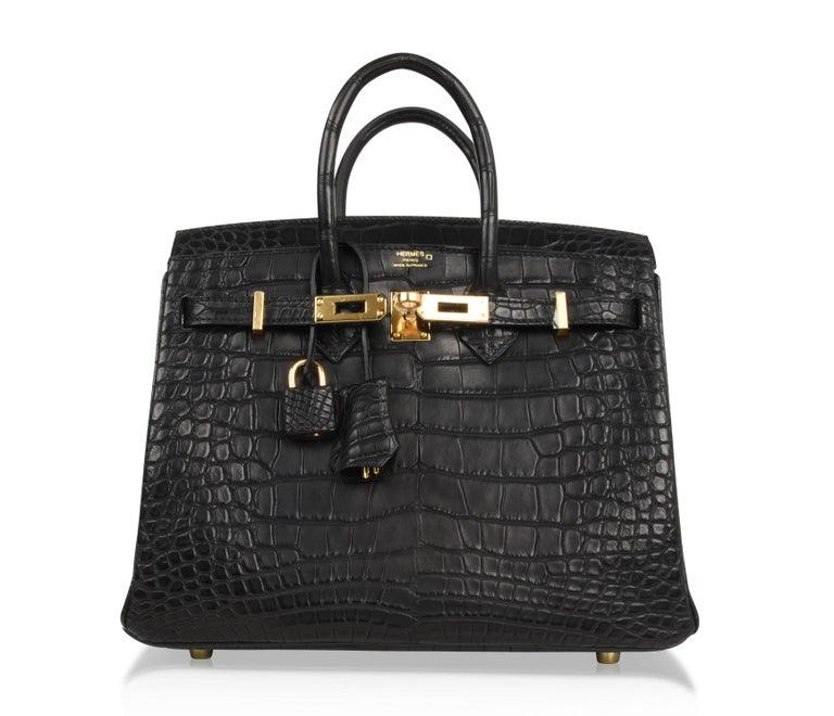 Hermes Birkin 25 Bag Matte Black Alligator Gold Hardware 4