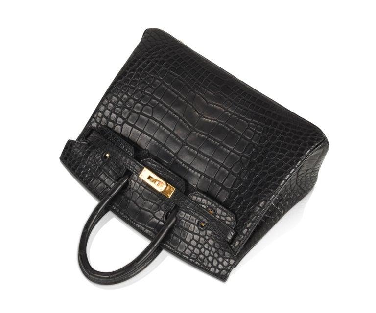 Hermes Birkin 25 Bag Matte Black Alligator Gold Hardware 2