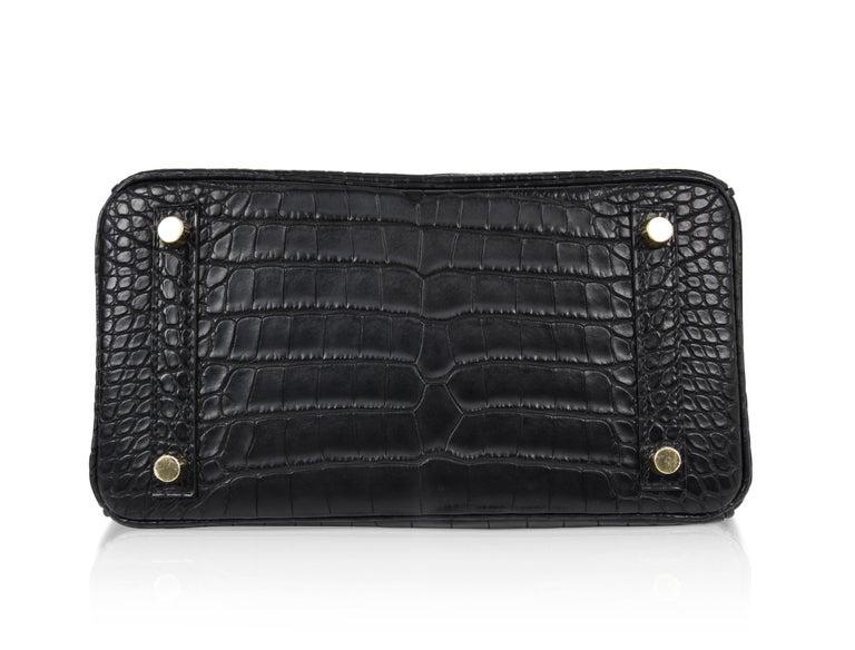 Hermes Birkin 25 Bag Matte Black Alligator Gold Hardware 11