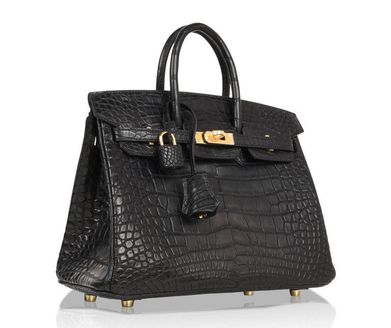 Hermes Birkin 25 Bag Matte Black Alligator Gold Hardware 1