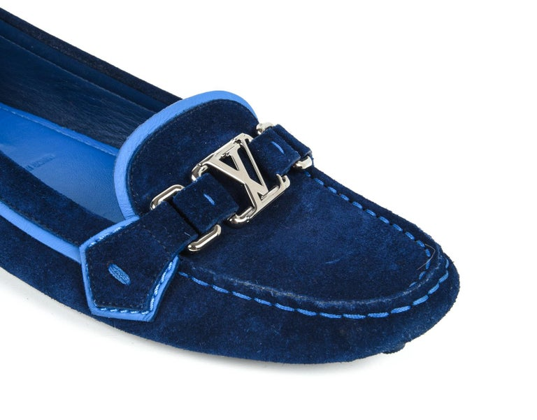 e346a03a9f36 Guaranteed authentic Louis Vuitton rich royal blue navy suede loafer    driving shoe. Silver signature