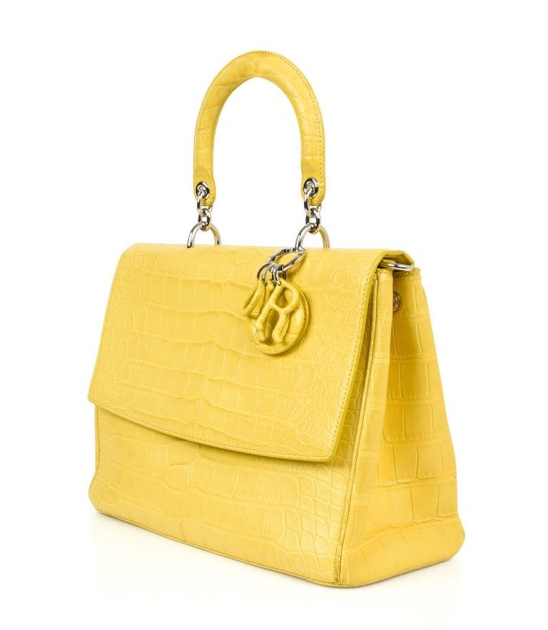 bd9881330f3 Women's Christian Dior Be Dior Bag Matte Yellow Crocodile Double Flap Medium  For Sale