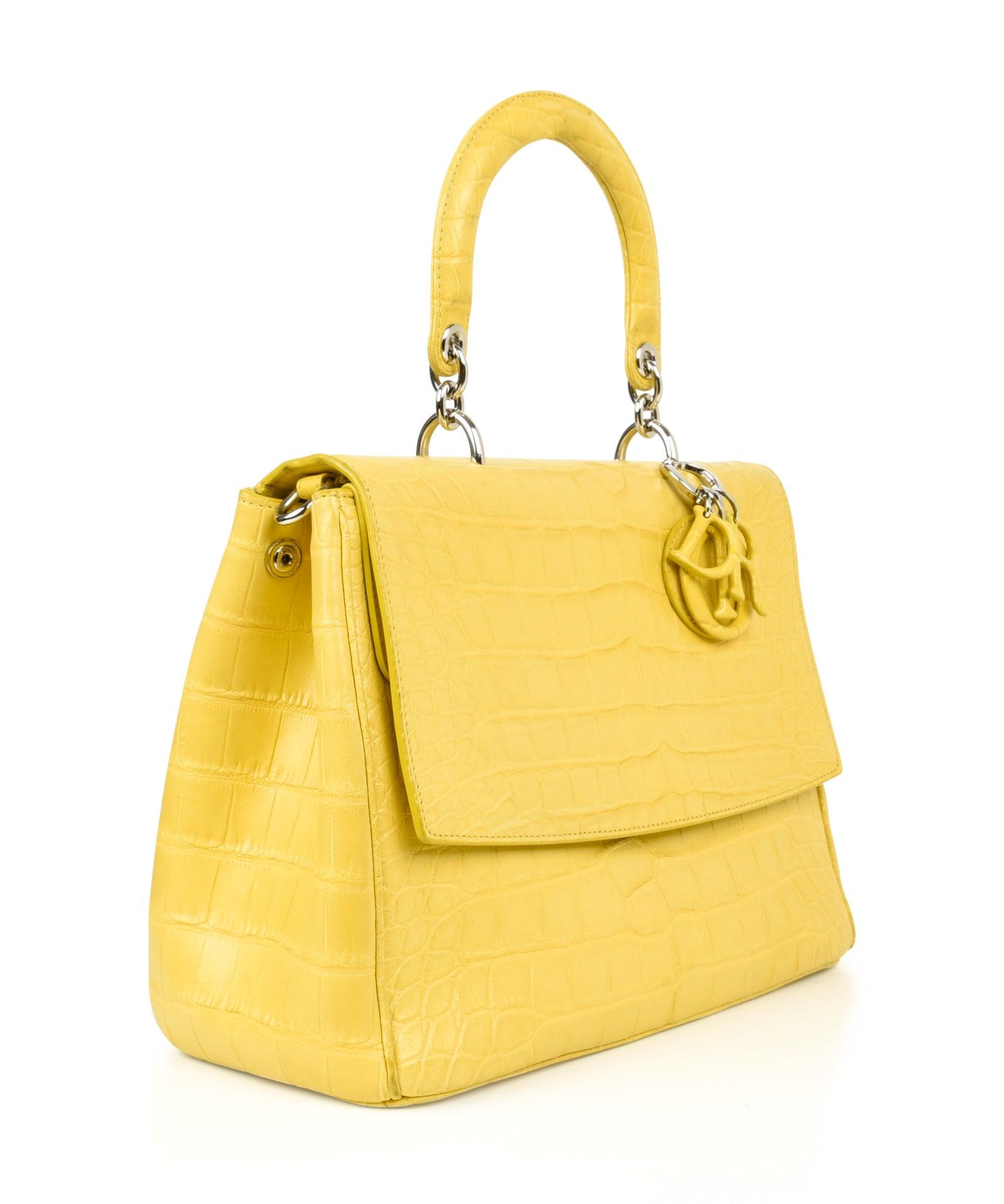 4794ea3626e Christian Dior Be Dior Bag Matte Yellow Crocodile Double Flap Medium For Sale  at 1stdibs