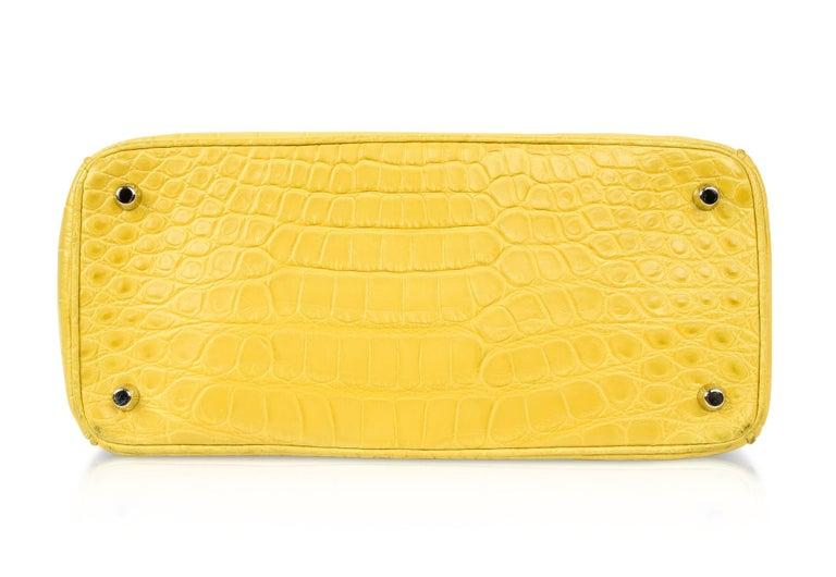1c269c0977d Christian Dior Be Dior Bag Matte Yellow Crocodile Double Flap Medium For  Sale 6
