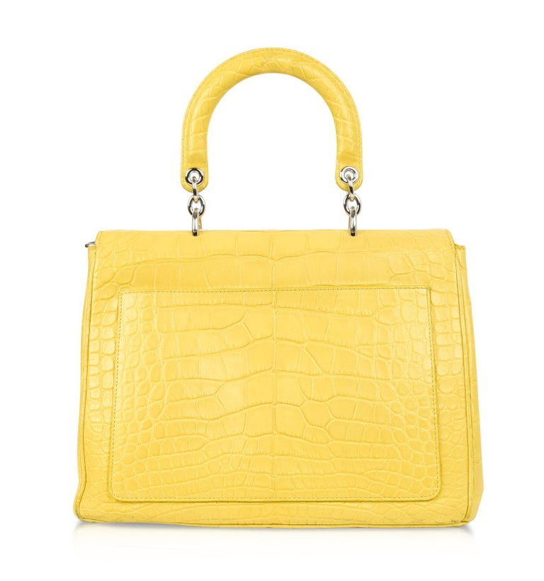 438bf4a07bb Christian Dior Be Dior Bag Matte Yellow Crocodile Double Flap Medium For  Sale 4