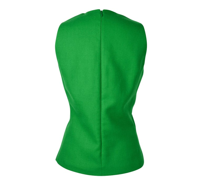 Christian Dior Top Emerald Green Sleeveless Shaped and Fitted fits 8 For Sale 2