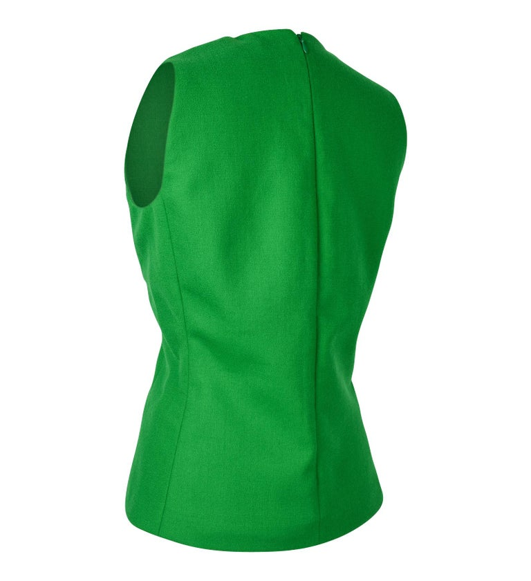 Christian Dior Top Emerald Green Sleeveless Shaped and Fitted fits 8 For Sale 1