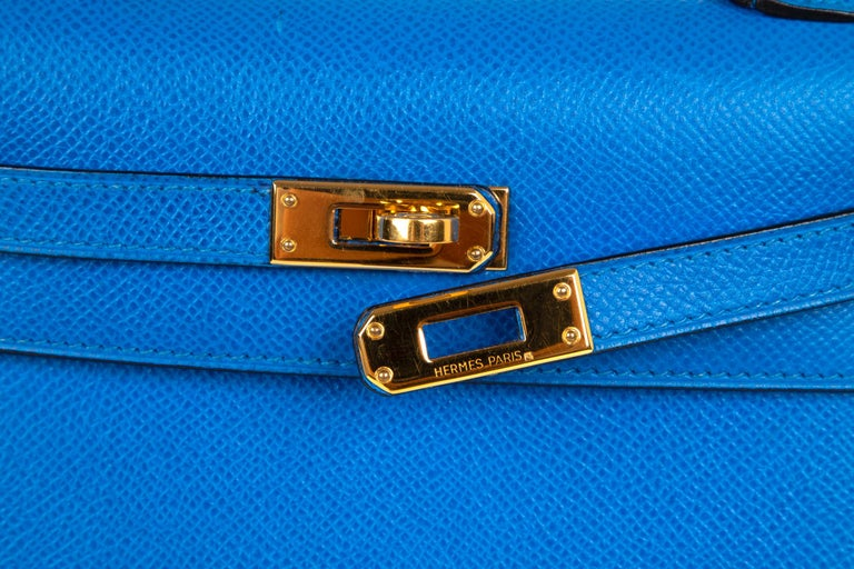 3953baaa2dab Guaranteed authentic Hermes insanely beautiful mini Vintage 20cm Hermes  Kelly Sellier in rare Blue de France