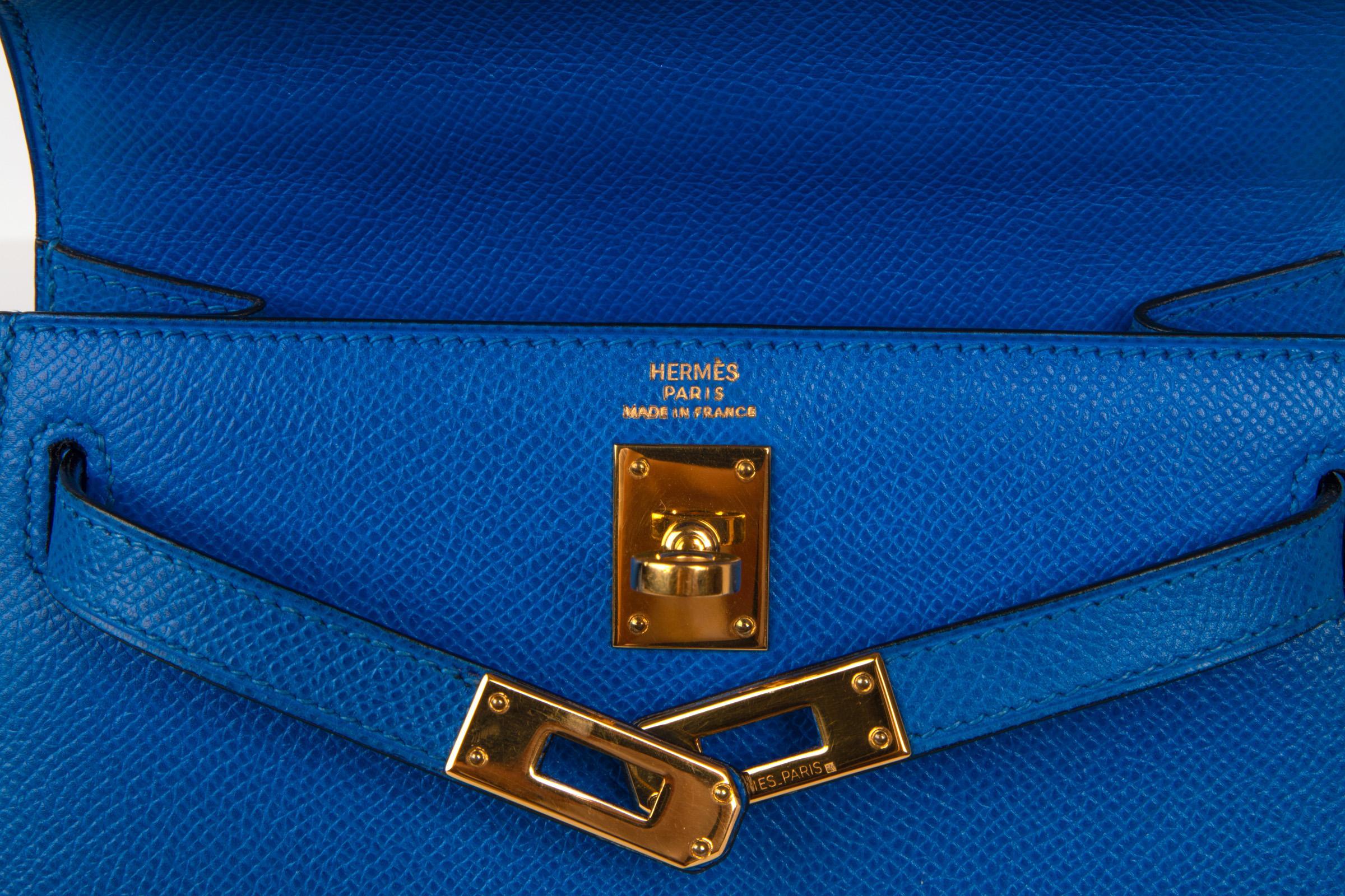 98fbaec9db12 Hermes Vintage Kelly 20 Sellier Mini Blue de France Courchevel Gold  Hardware at 1stdibs