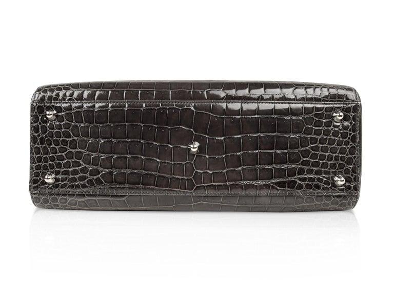 Christian Dior Lady Dior Front Pocket Gray Crocodile Bag With Shoulder Strap  For Sale 5 fb6d778533a46