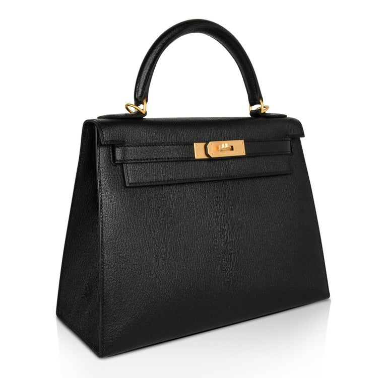 41a6fbb01a89 Hermes Kelly 28 Bag HSS Sellier Black Chevre Vermillion Interior Brushed  Gold For Sale 1
