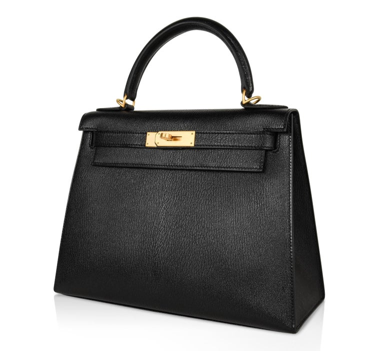 Hermes Kelly 28 Bag HSS Sellier Black Chevre Vermillion Interior Brushed Gold  For Sale 2