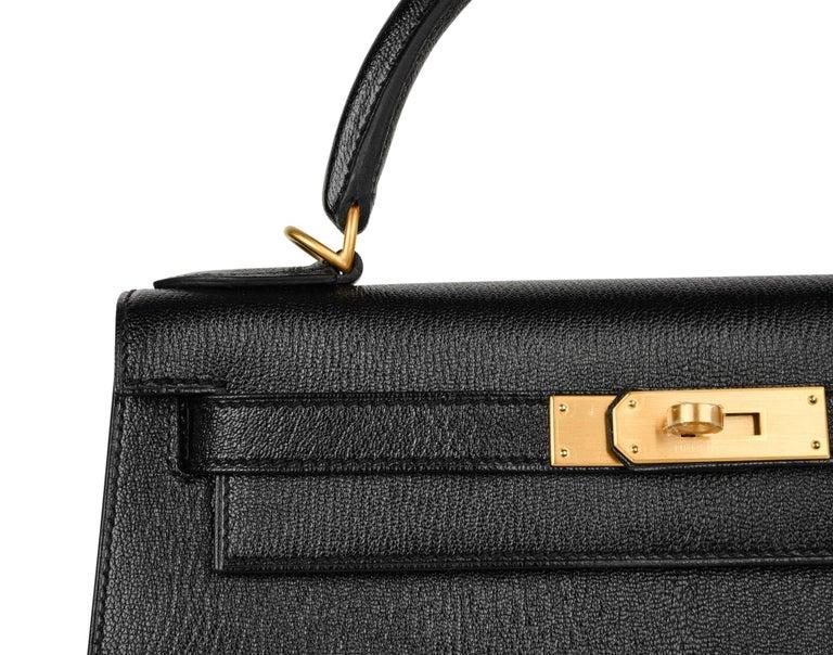 Hermes Kelly 28 Bag HSS Sellier Black Chevre Vermillion Interior Brushed Gold  For Sale 4