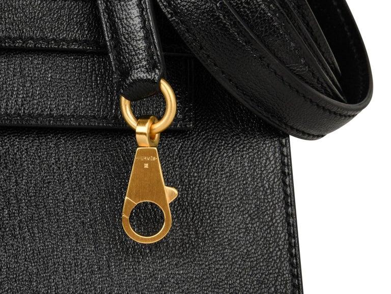 Hermes Kelly 28 Bag HSS Sellier Black Chevre Vermillion Interior Brushed Gold  For Sale 5