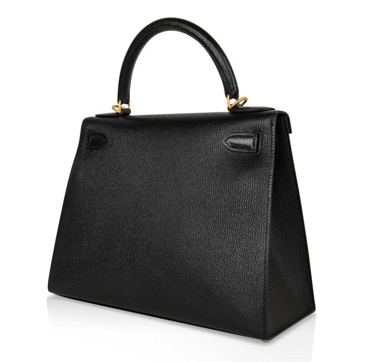 Hermes Kelly 28 Bag HSS Sellier Black Chevre Vermillion Interior Brushed Gold  For Sale 7