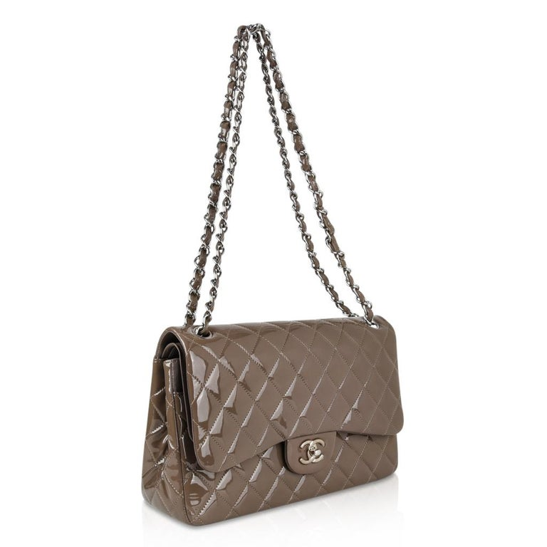 7917bd108ae005 Chanel Bag Patent Leather Jumbo Double Flap Taupe New For Sale at ...