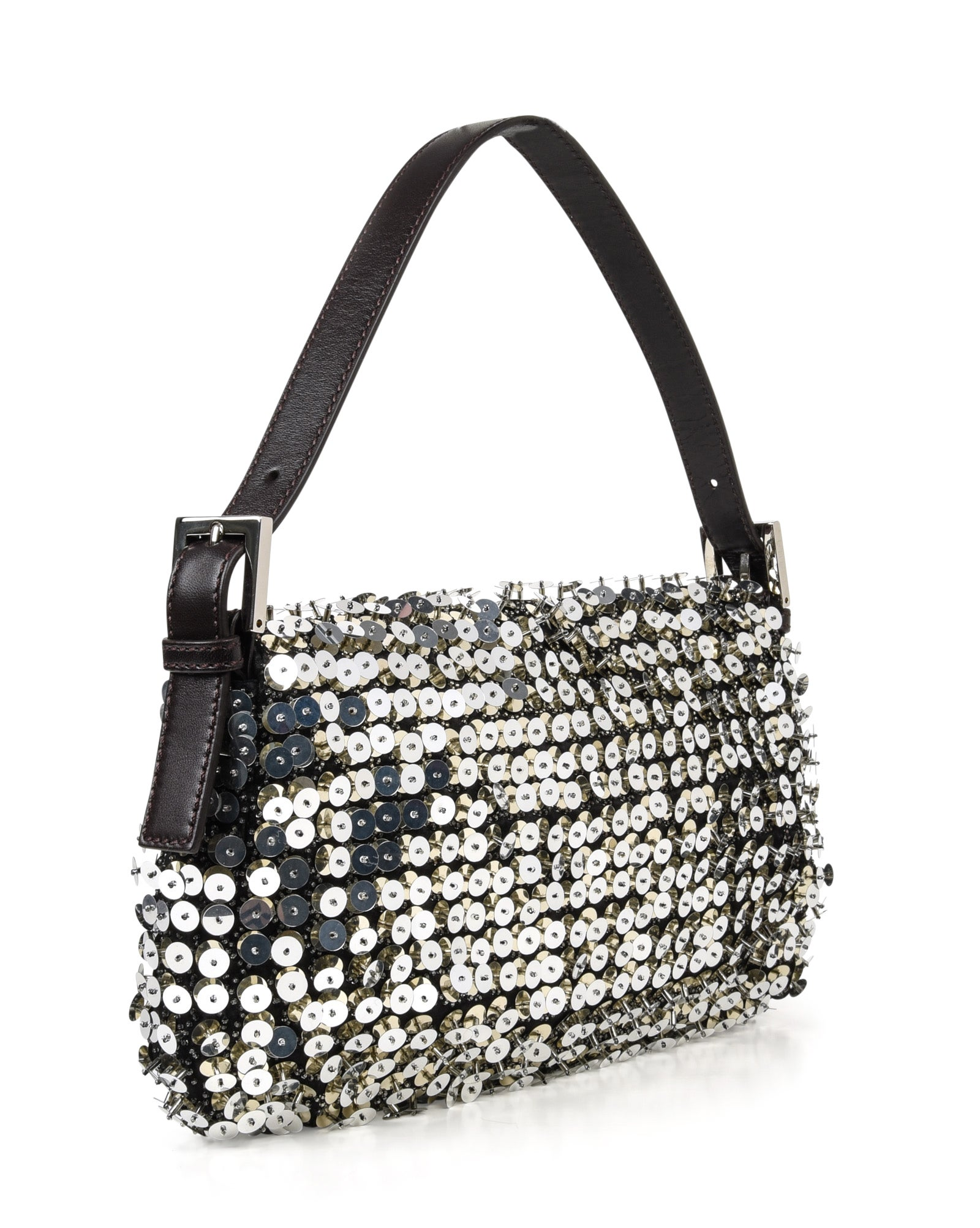 f45c3350aad5 Fendi Bag Baguette Raised Silver Metallic Sequined and Beaded For Sale at  1stdibs
