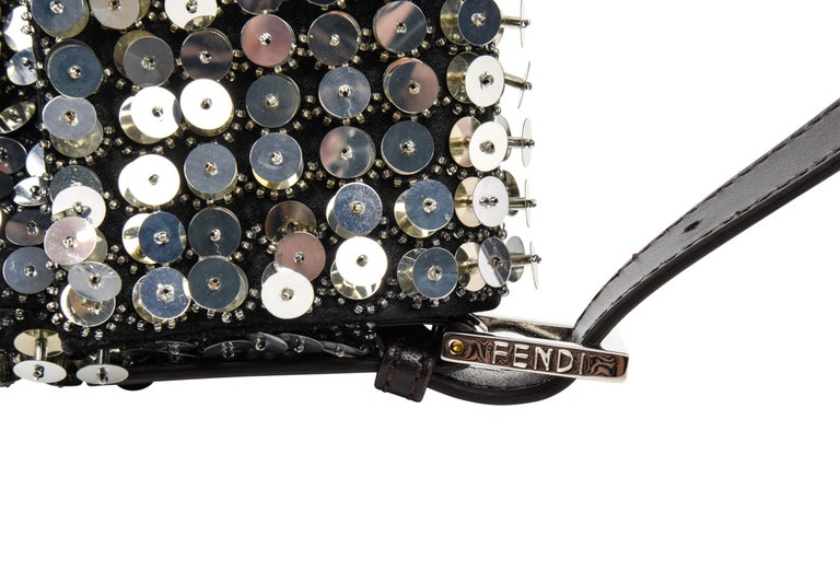 6a50dd57a6d8 Black Fendi Bag Baguette Raised Silver Metallic Sequined and Beaded For Sale