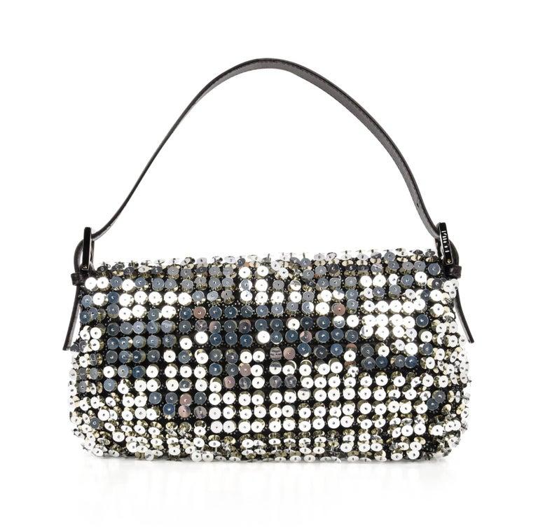 6b9776f8731e Fendi Bag Baguette Raised Silver Metallic Sequined and Beaded