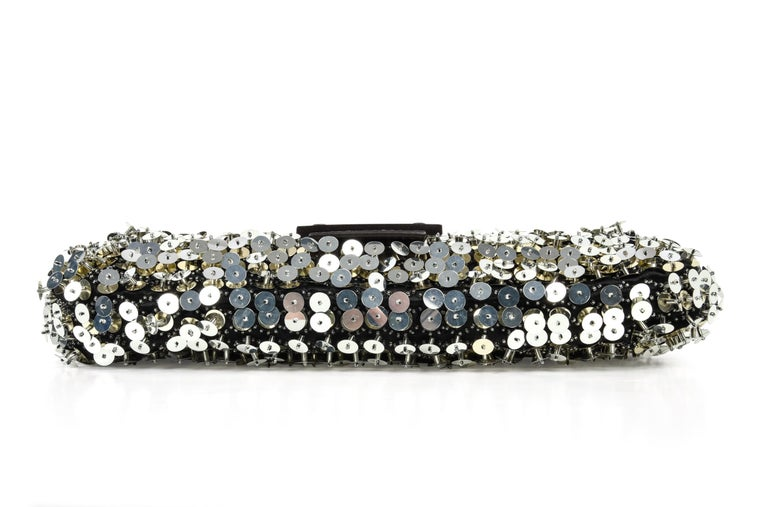 bd05a79de58b Fendi Bag Baguette Raised Silver Metallic Sequined and Beaded For Sale 4