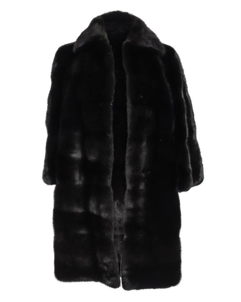 Gucci Coat Black Glossy Mink 3 4 Sleeve Knee Length 42