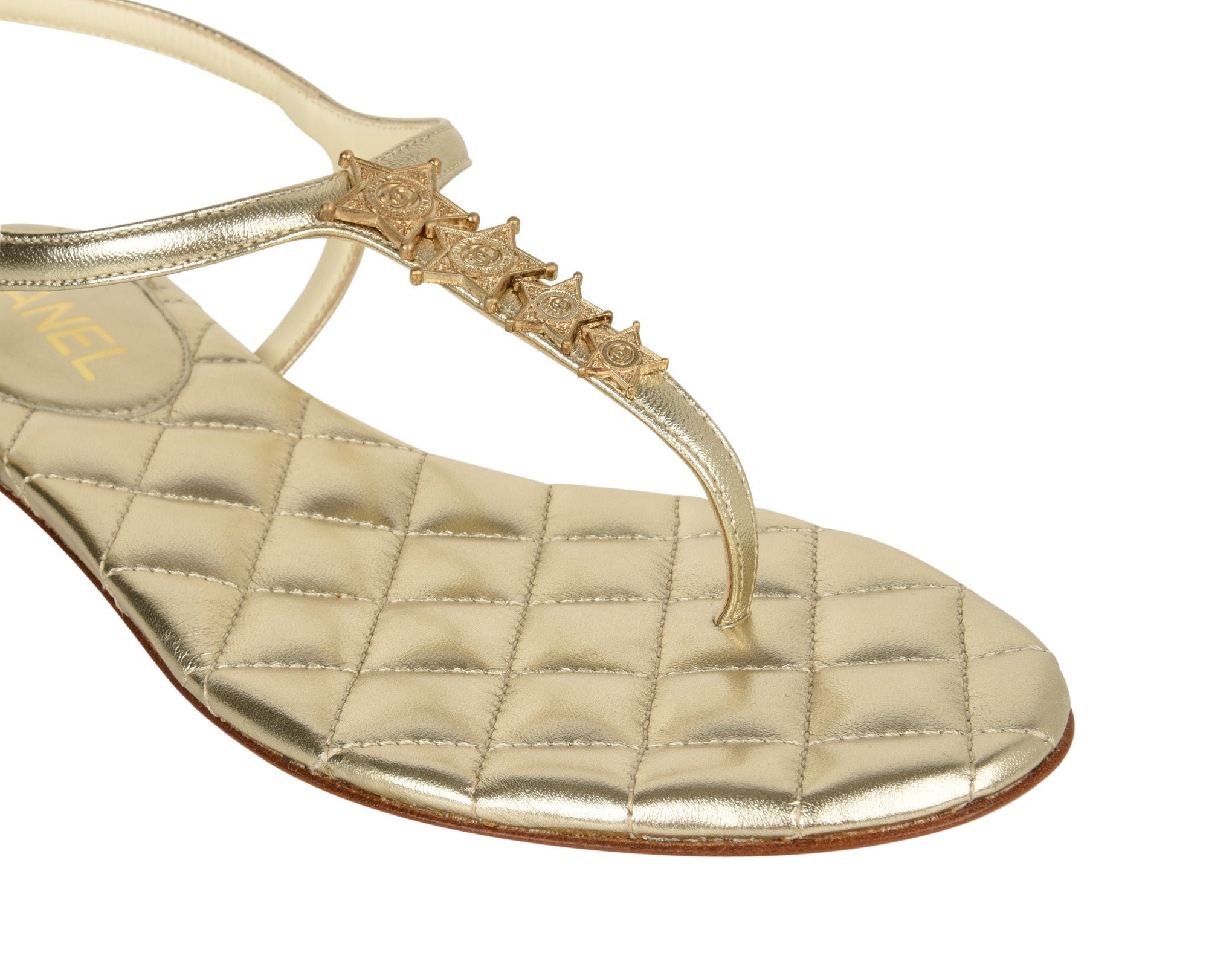 bbadcd016 Chanel Shoe CC Star Paris Dallas Gold T-Strap Thong Sandals 38 C / 8 New at  1stdibs