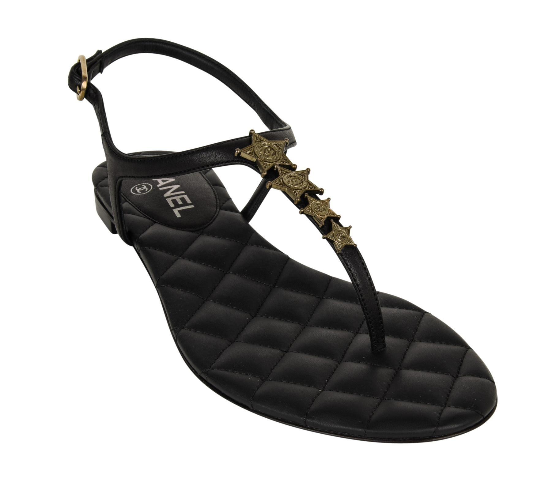 483e45fb9679 Chanel Shoe Paris Dallas CC Star Black T-Strap Thong Sandals 38C   8 New at  1stdibs
