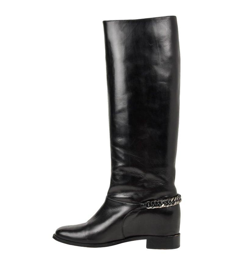 brand new d251e a121e Christian Louboutin Boot Black Cate Flat Knee High Chain Detail 39 / 9