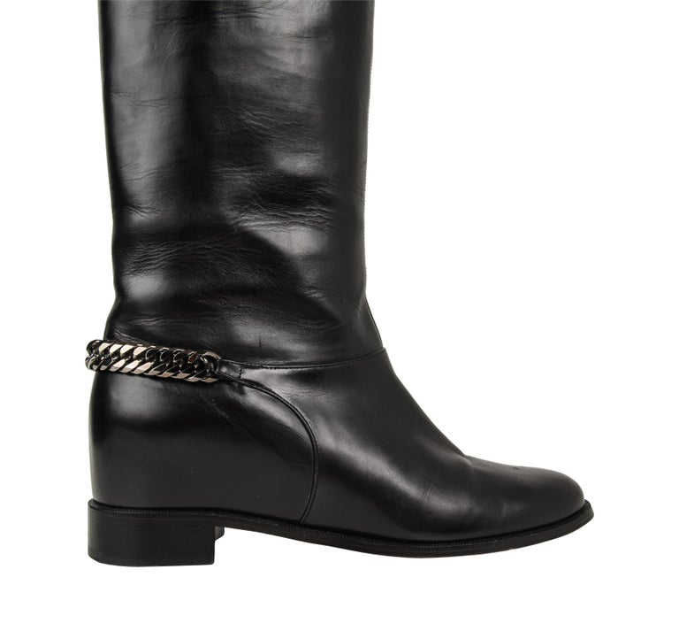 brand new 3d74a a8862 Christian Louboutin Boot Black Cate Flat Knee High Chain Detail 39 / 9