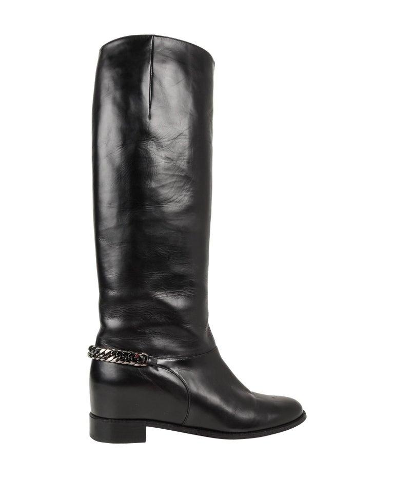fb6d4b88150 Christian Louboutin Boot Black Cate Flat Knee High Chain Detail 39 / 9